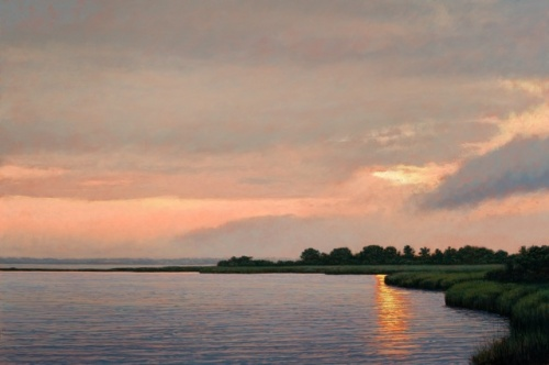"WETLANDS SUNSET AT MECOX BAY 24"" x 36"" oil on panel"