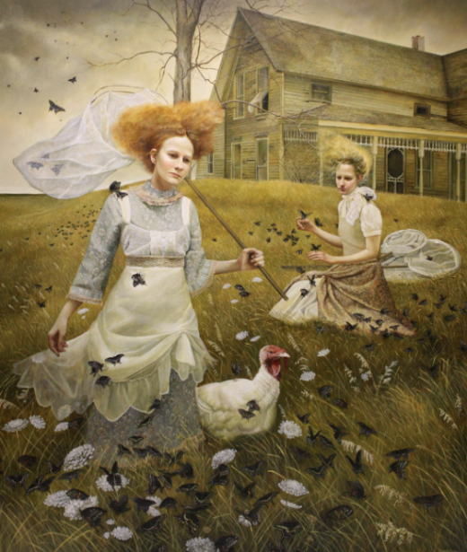 "Andrea Kowch, Soujourn, Acrylic on canvas, 72""x 60"" Courtesy of Richard J. Demato Fine Arts Gallery."