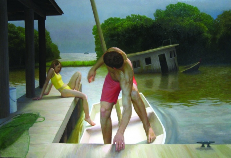 Bryan LeBoeuf: Trois Bateaux, 2004. Oil on linen. 66x96in. Collection of Christopher Forbes, New York, New York.