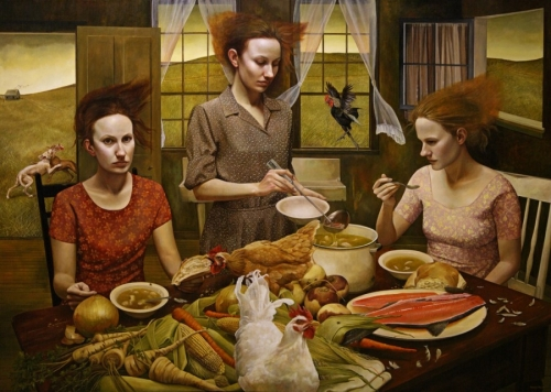 Andrea KowchThe Feast, 2010-11. Acrylic on canvas. 60x84in. Collection of John and Suzanne Hooker, Sag Harbor, New York.