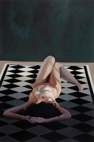 """Harriet Sawyer / """"Being On the Grid"""" / 72? x 48? / Oil on Canvas WOMEN PAINTING WOMEN"""