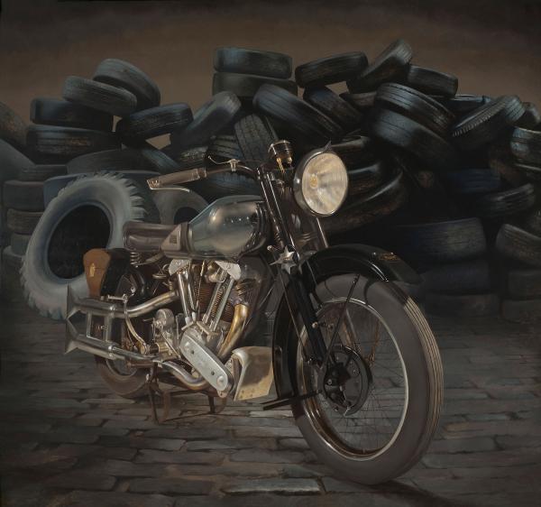 Brough-Superior-oil-on-aluminum--72x76--Drew-Ernst