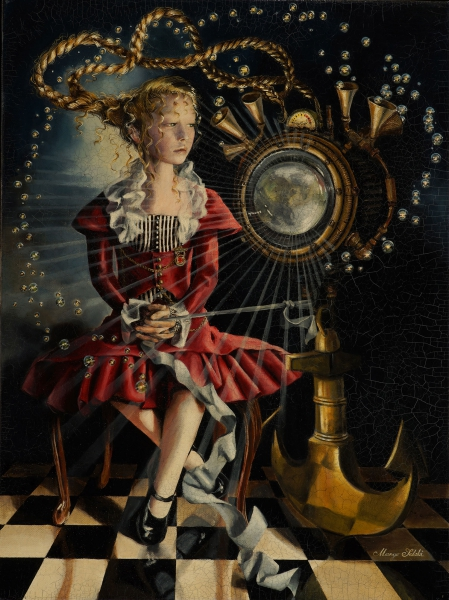 Margo-Selski-_-Penelope's-New-Acquisition_-24-x-18_-Oil-and-Beeswax-on-Canvas